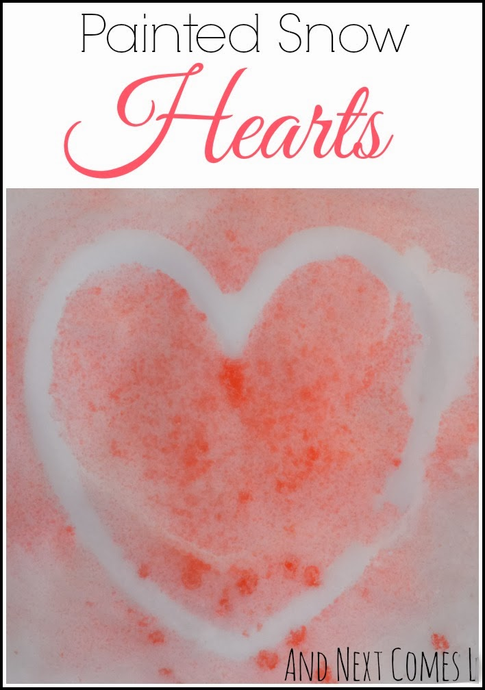 Celebrate Valentine's Day by painting some snow hearts from And Next Comes L