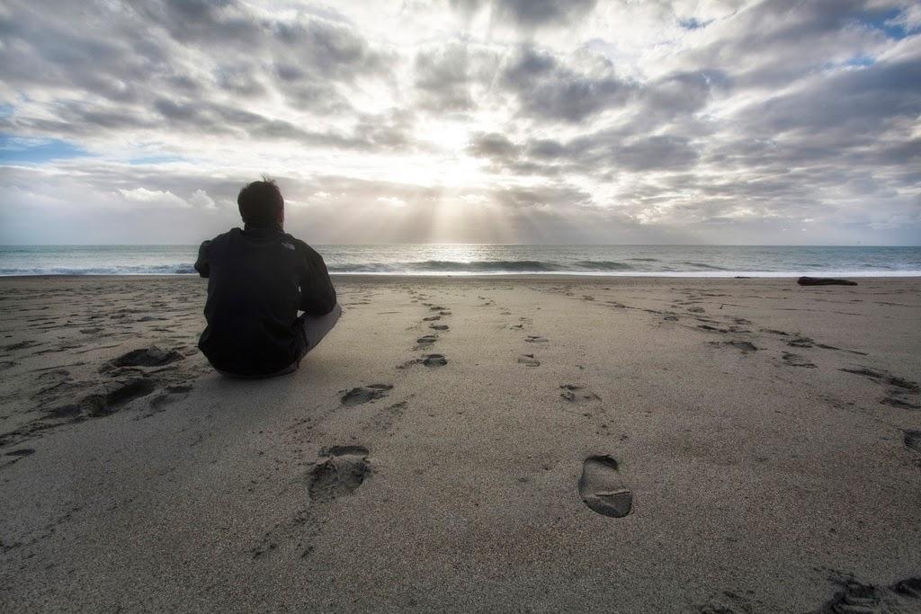 Man Beach Sunset Thinking
