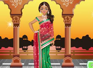 Juego de belleza de la chica india tradicional