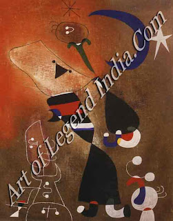 "The Great Artist Joan Miro Painting ""Women and Birds"" in the Moonlight 1949 32"" x 26"" Tate Gallery, London"