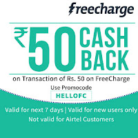 Freecharge App Recharge & Bill Payment Rs. 50 Cashback on Rs. 50