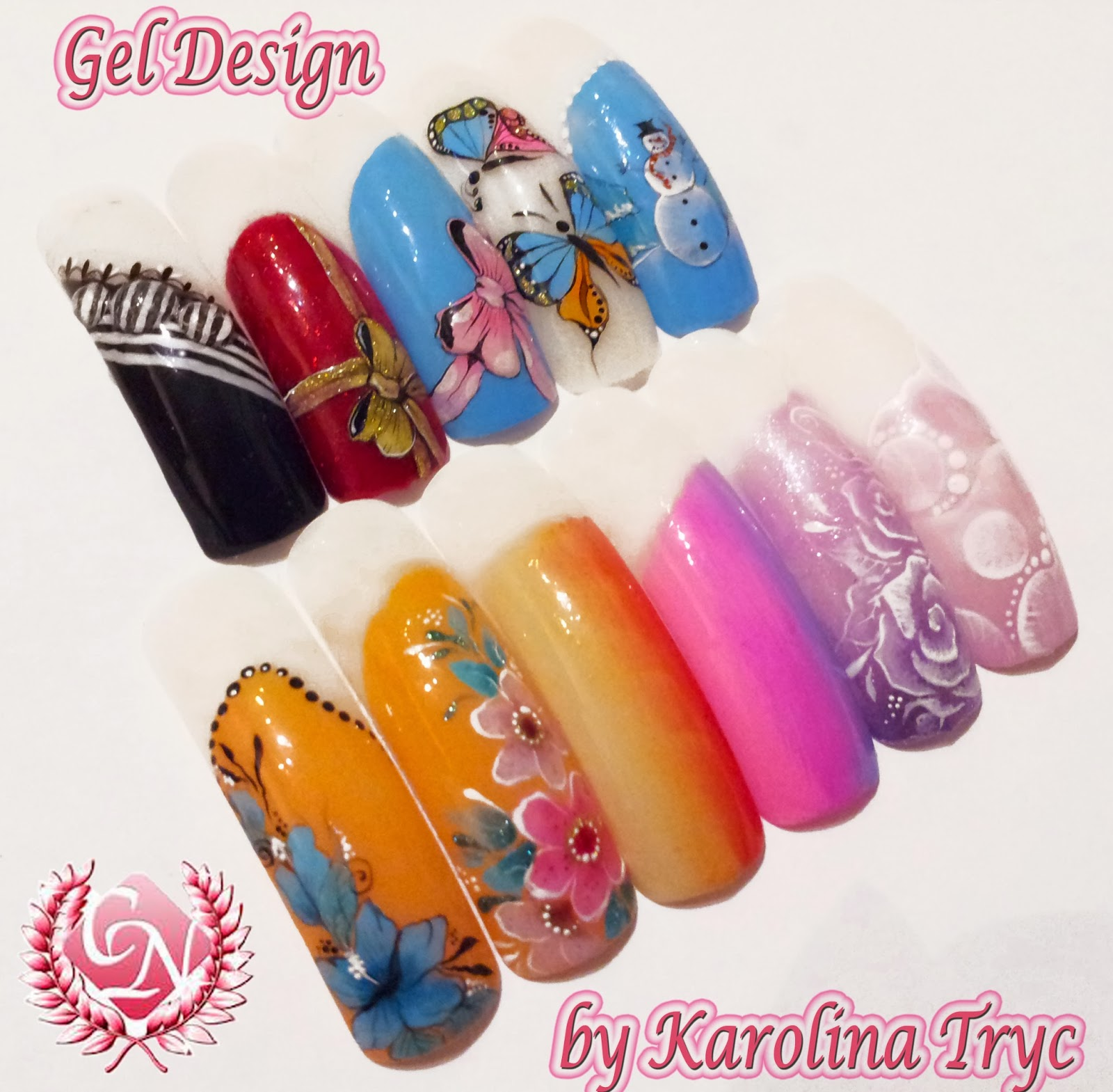 Gel Design Work With Crystal Nails Academy By Karolina Tryc