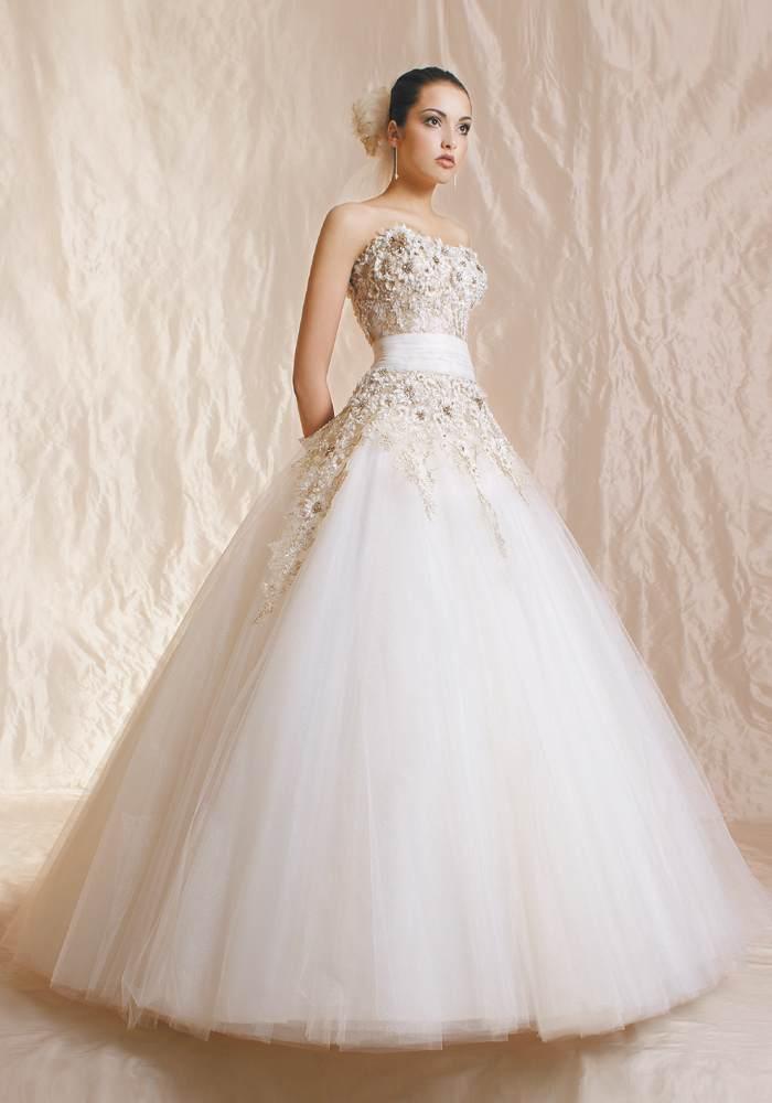 Suknie ślubne Vestido Księżniczka Złota Koronka I Kamienie Agora