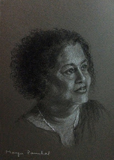 portrait study done using charcoal pencil and white pastel pencil by Manju Panchal