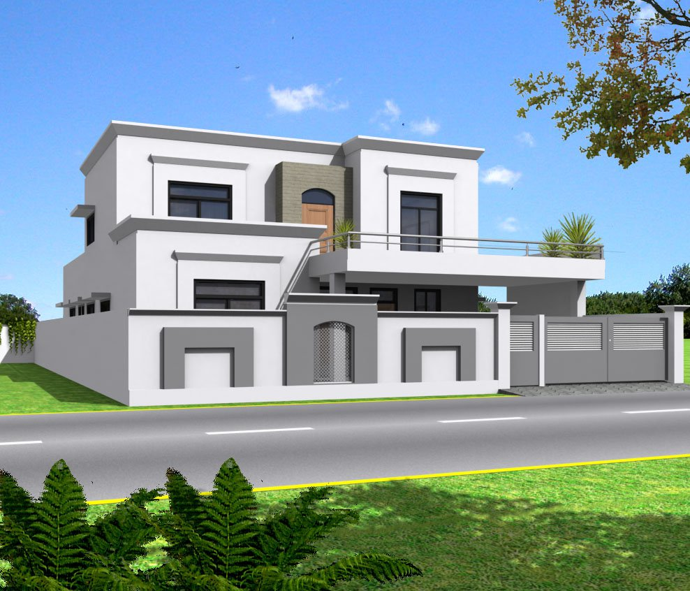 3d front india pakistan house design 3d Indian house front design photo