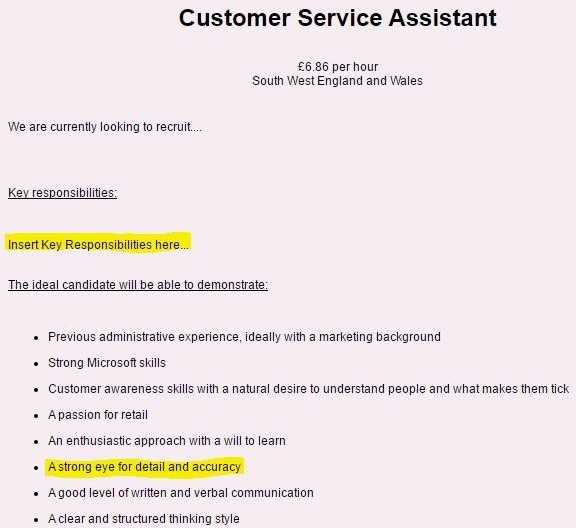 Customer service assistant job advert using template