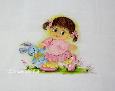 """fralda pintada,cor de rosa,menina,coelho"""