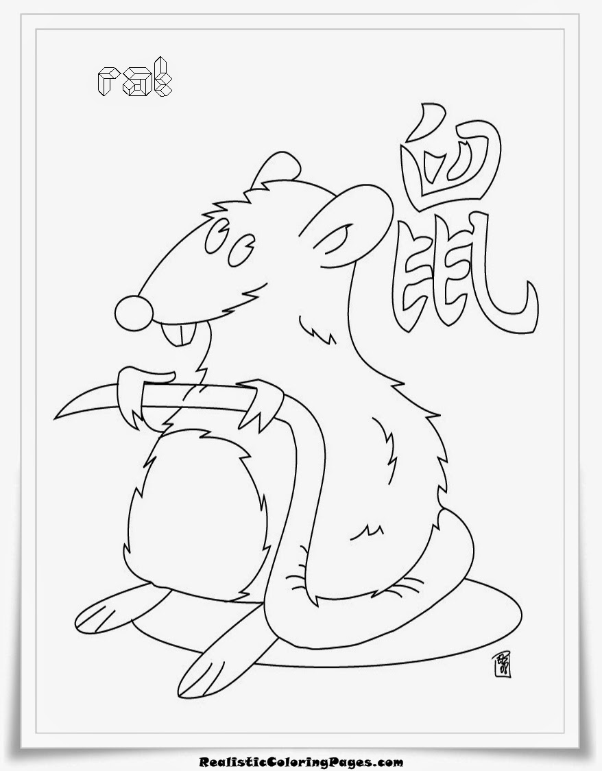 Zodiac animal coloring pages - Rat Chinese Zodiac Animal Coloring Pages