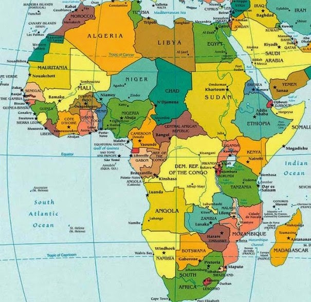 africa map states and capitals