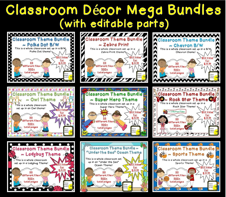 Classroom Decor Bundles : Planet happy smiles monday made it