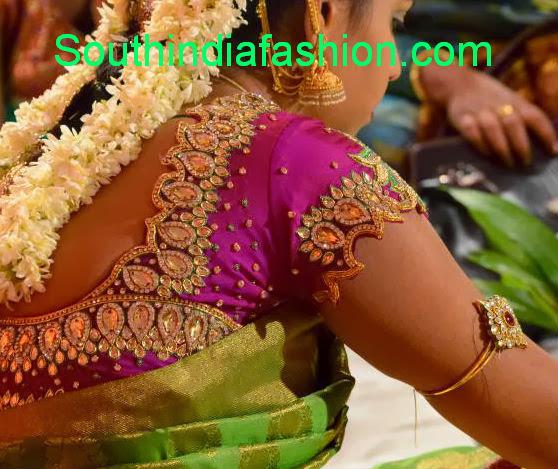 stone work saree blouse