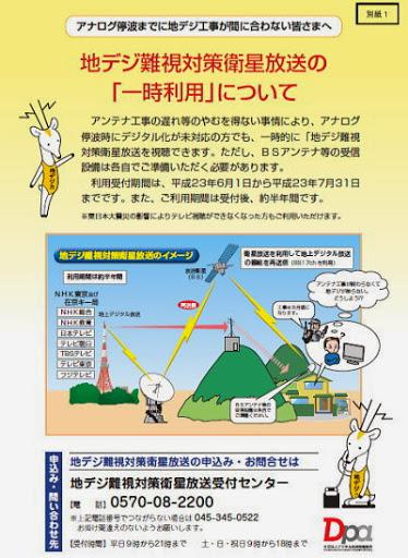 地デジ難視対策衛星放送の「一時利用」について