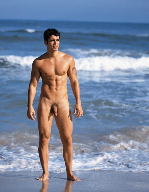 Naked men on nude beaches