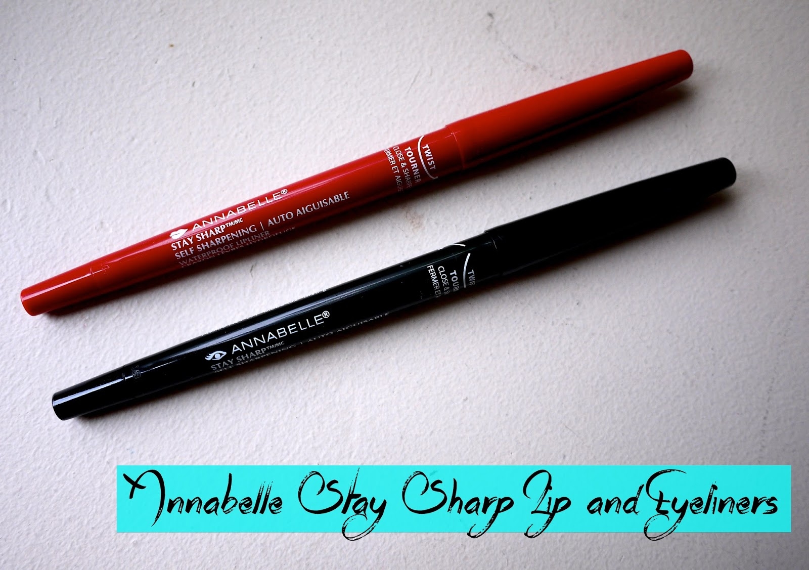 Annabelle Stay Sharp Waterproof Kohl Eyeliner and Lipliner glam red go black review swatch