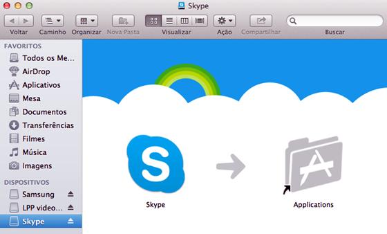 A instalação do Skype no Mac é muito fácil