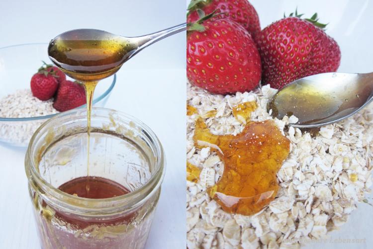 Pfefferminz- Gesichtsspray und Erdbeer-Haferflocken- Honig- Peeling