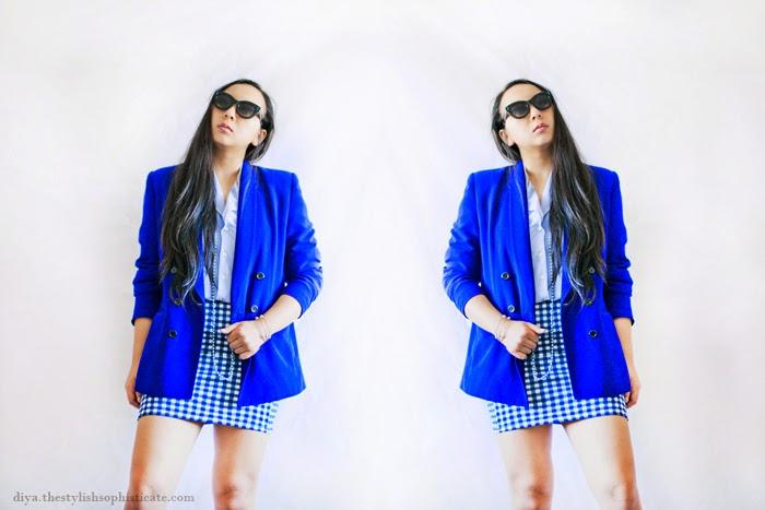 fashion blog, nyc, texas, outfit, gingham skirt, work outfit, work wardrobe, warodrobe stylist nyc, fashion styling, streetstyle, vintage cobalt blue blazer, designer clothing