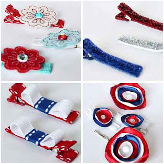 Patriotic Hair Clips by Tricia @ SweeterThanSweets