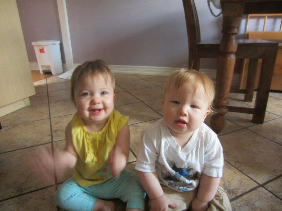 babies on kitchen floor
