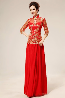 Contoh Baju Pesta Dengan Sentuhan Brokat Mandarin