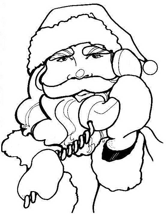 COLOREA TUS DIBUJOS: Papá Noel hablando por teléfono para colorear ...