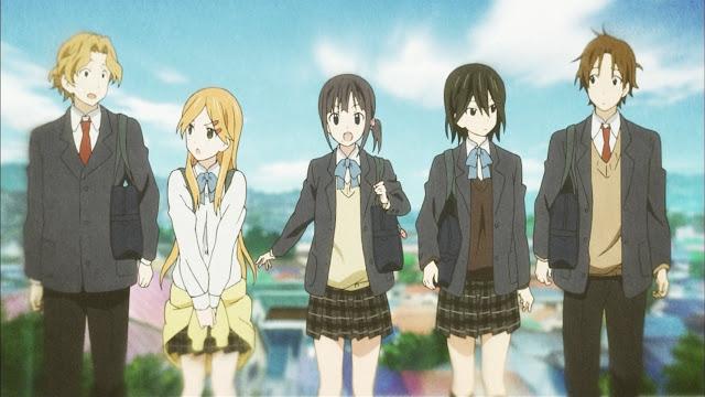 Kokoro no Connect, de izquierda a derecha Aoki, Yui, Iori, Himeko y Taichi.