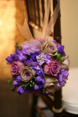 Purple Pomander, roses, freesia, stock, Isha Foss Events