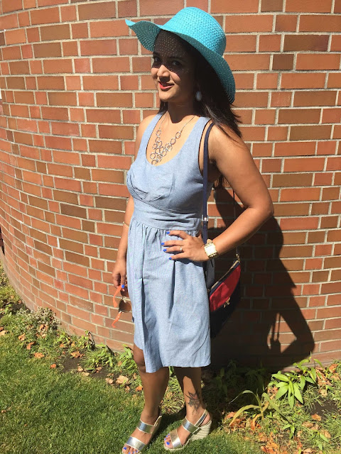 Denim dress for summer, how to style a denim dress, denim dress with a hat, Ananya, Indian fashion blogger, Seattle Fashion blogger
