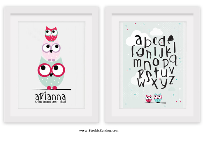 owls custom nursery wall art