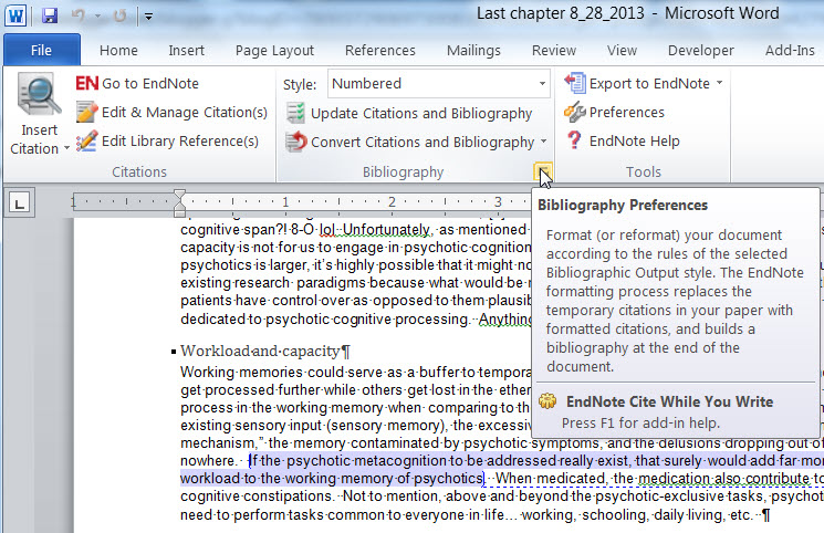 how to add endnote to word 2013