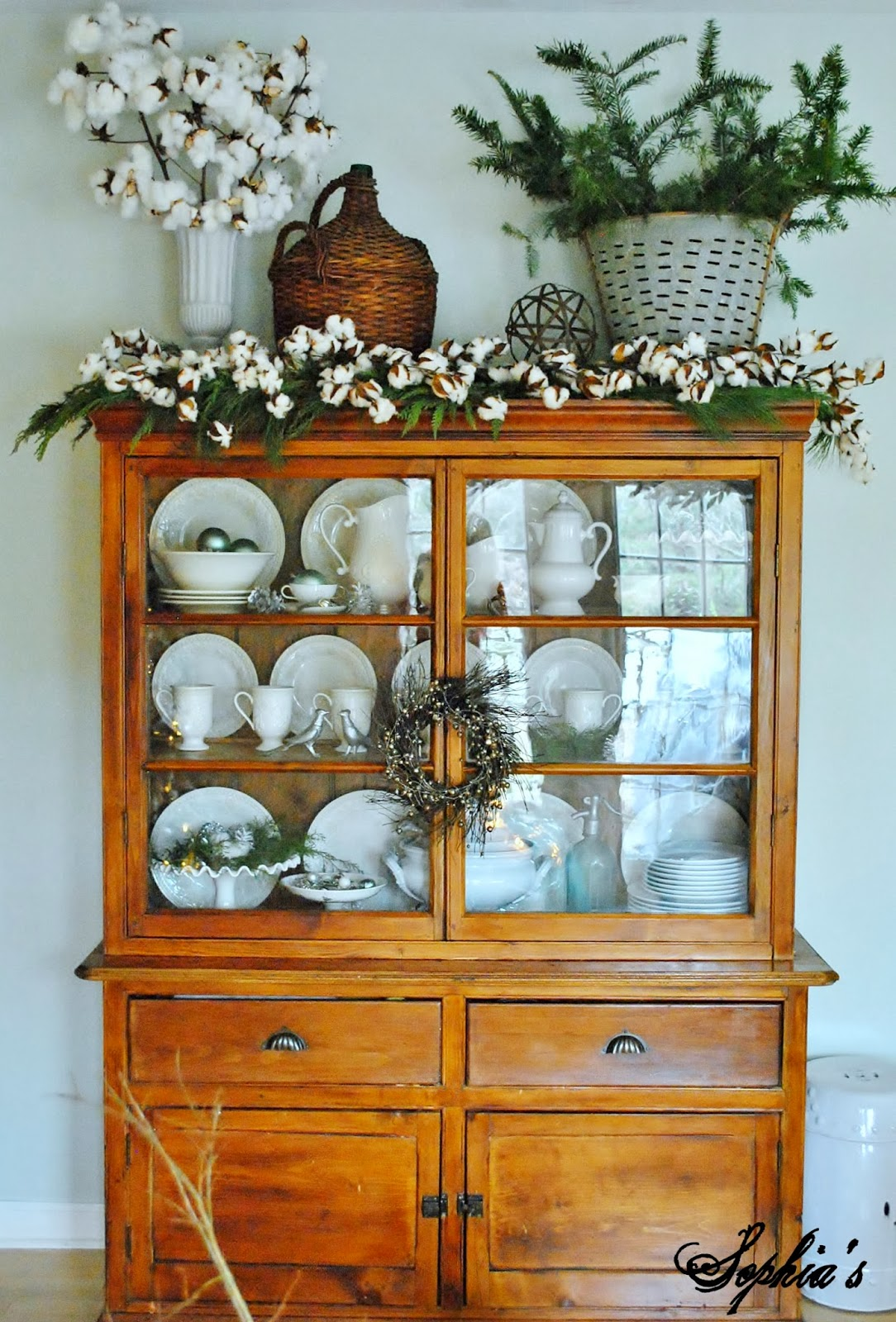 Decorating Ideas > Inspirations By D Decorating With Cotton Stems ~ 012415_Christmas Decorating Ideas Hutch