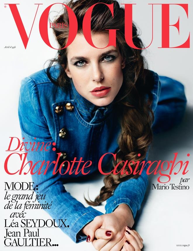 Charlotte Casiraghi on the cover of Vogue Paris April 2015 issue by fashion photographer Mario Testino