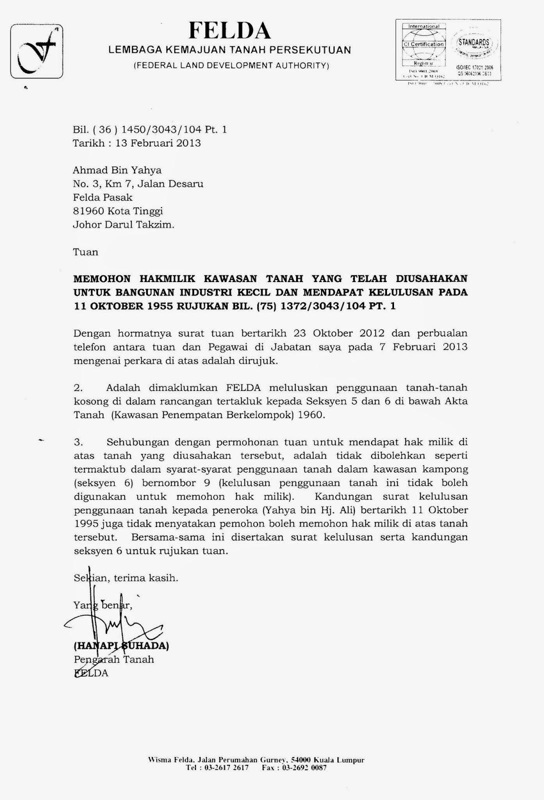 Surat Rasmi Permohonan Tanah Kerajaan Selangor G