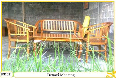 Set Kursi Teras Rumah & Meja Ukiran Betawi Menteng kayu jati