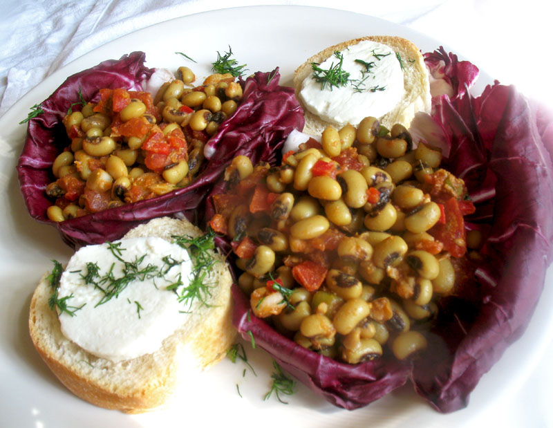 Black eyed pea salad with indian spices