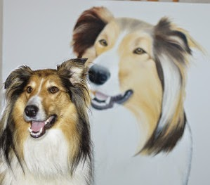 Rough Collie painting in oil on canvas