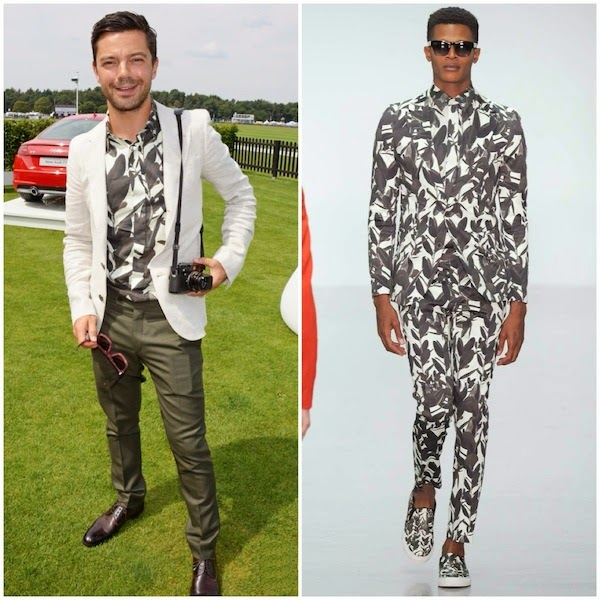 Dominic Cooper in A Sauvage Spring Summer 2015 leaves print paint shirt at 2014 Audi International - Guards Polo Club