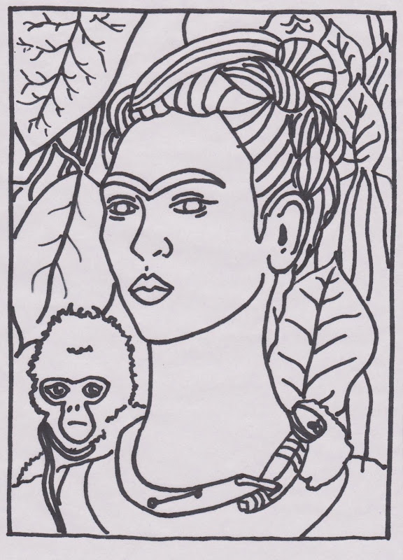 Frida Kahlo Colouring Pages title=
