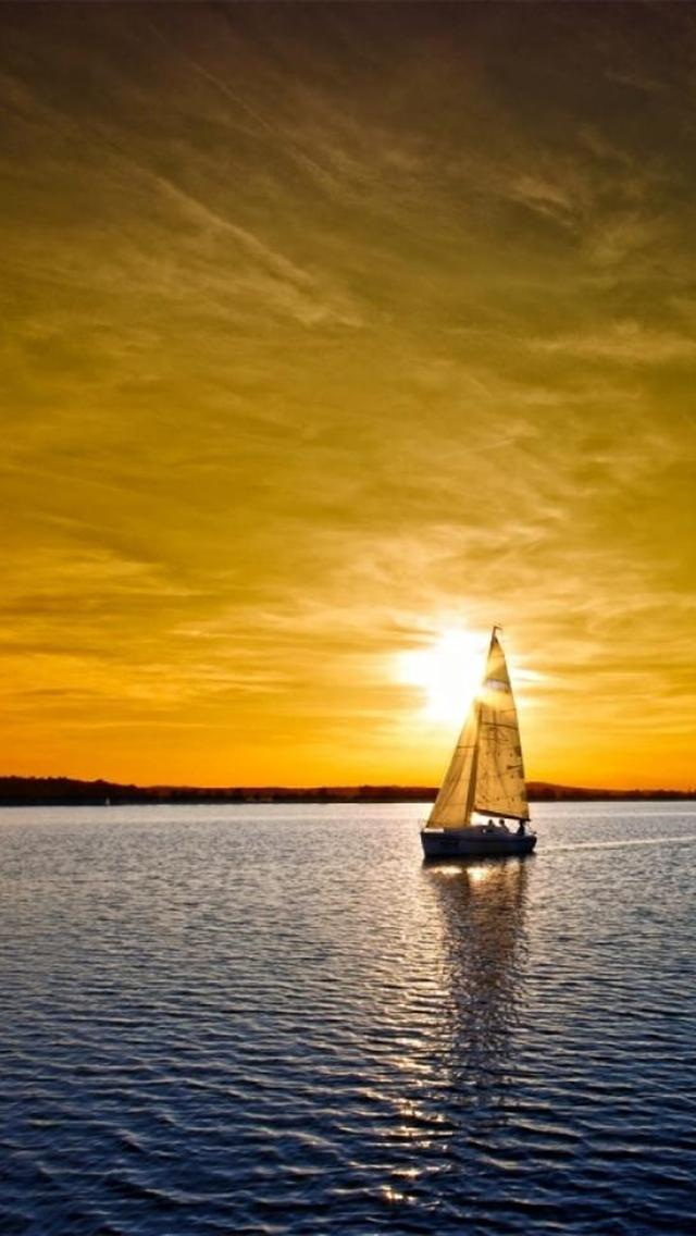 Ship On Sea Sunset Iphone 5 Wallpapers HD