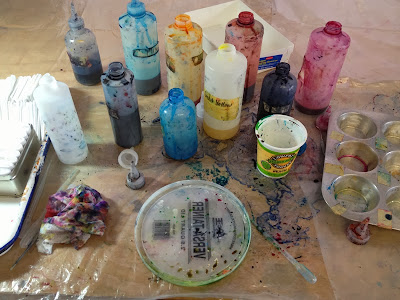 My dye bottles and messy dye workspace