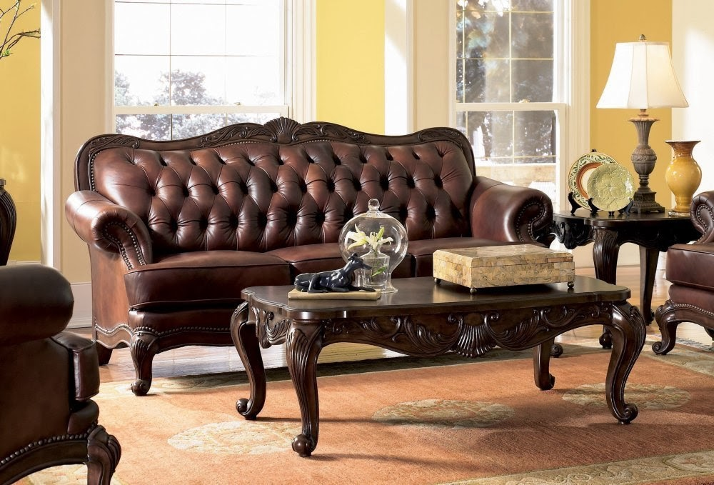 Antique Victorian Sofa Set Leather