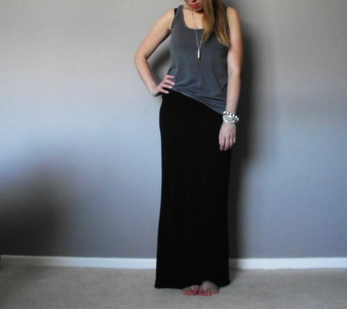 black-maxi-skirt-grey-vest