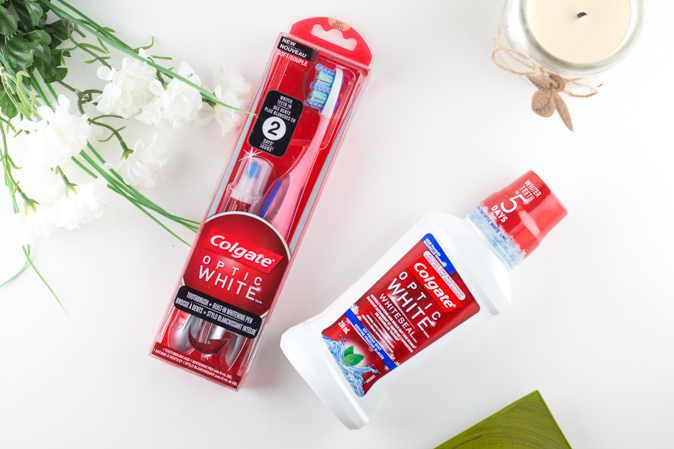 colgate optic white whitening toothbrush built in whitening pen and mouthwash review
