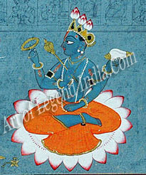 Vishnu bearing sankha, chakra, gada and padma his conch, discus, mace and lotus
