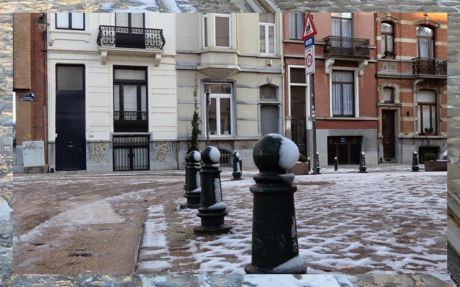 Snowy Residential Street in Brussels