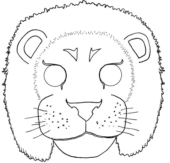 Una mascara de Leon para pintar y colorear | Dibujos para Colorear ...