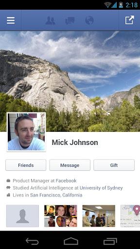 facebook per android app