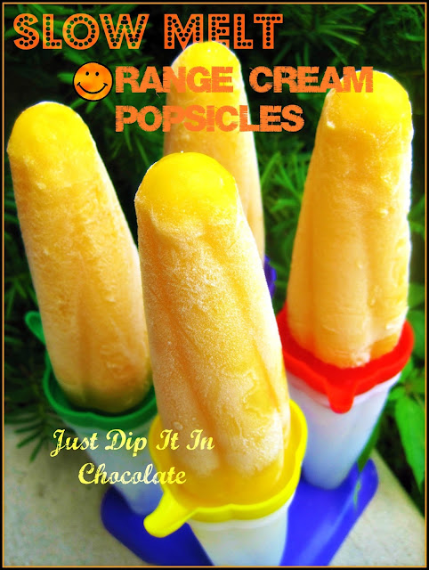 Homemade Slow Melt Orange Cream Popsicles, Orange Creamsicle Recipe