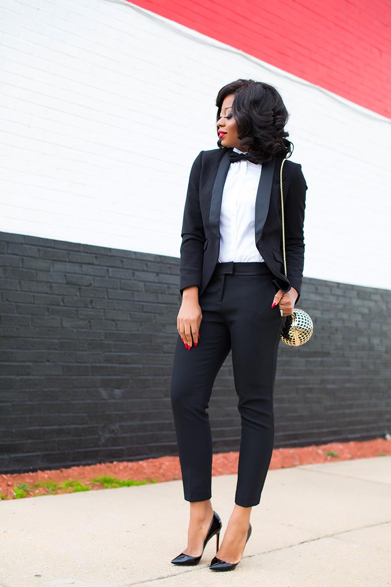 Black tie, holiday work party, H&M suit, www.jadore-fashion.com