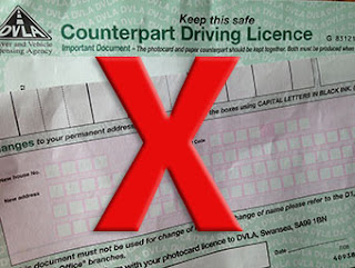 red x on UK Counterpart Driving Licence